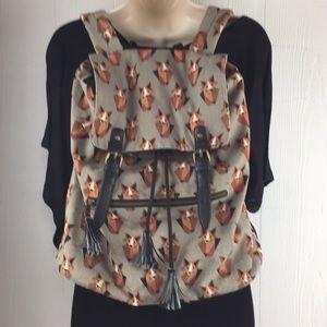 Fox print canvas backpack book bag